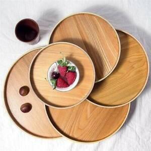 Round Tray Wood Snack Deseert Plate Natural Tea Food Server Dishes Drink Pla.BI
