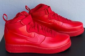 Nike Air Force 1 AF1 High Foamposite Cup Size 9  Triple All University Red  RARE
