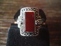 prächtiger Markasit Ring mit Carneol im Art Deco Stil 925er Silber 19,5 mm RG 62