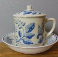 Blue and White Mug with Lid and Bowl Williams Sonoma Birds and Branches
