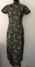 Vintage Chinese Party Dress Black //Gold Size M Uk 8 Brand New