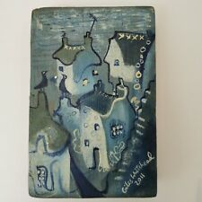 """Giles Whitehead Painting 7.5"""" x 5"""" x 1.5"""" Wooden Block Blue Abstract 2011 331816"""