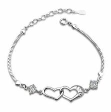 """8"""" White Gold Plated Silver Crystal Cross Heart Bracelet Chain Gift Box B10"""