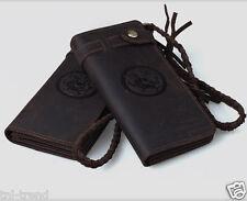 Vintage Men's Genuine Leather Long wallet Bifold Purse Clutch Bag Money Clips