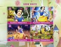 Madagascar 2018 MNH Snow White 4v M/S Disney Cartoons Stamps