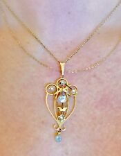 FINE PENDANT TOPAZ 9CT LAVALIERE SEED PEARLS SACRED GEOMETRY FREE CHAIN INCLUDED