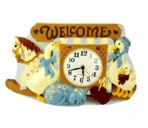 Vintage Burwood Welcome Wall Hang Farm House Decor Clock Duck Horse Wall Clock