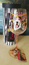 Cyhafi Couture Pampered Pets Hand Painted Wine Glass Party with Friends Dogs NIB