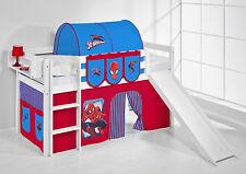 Lit mezzanine de lit Jelle 190X90 Blanc Avec Toboggan enfants Lilo Spiderman