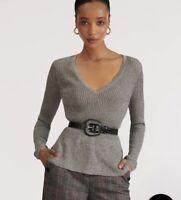 Veronica Beard Sweater Esmeralda V-Neck Metallic Ribbed Peplum Pullover NWT S