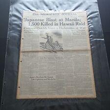 MILWAUKEE JOURNAL WWII NEWSPAPER DECEMBER 8th 1941 JAPAN ATTACKS PEARL HARBOR