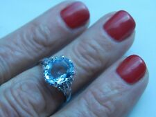 2.62 Ct. Oval Faceted Aquamarine Sterling Silver Ring