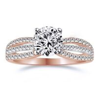 1 Ct Round Cut Solitaire Accents Diamond Engagement Ring in Solid 14K Rose Gold