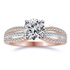 1.2 Ct Round Cut Halo Promise Engagement Wedding Ring Real Solid 14K Rose Gold