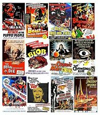 VINTAGE SCI FI FILMS POSTERS SET OF 12 FLEXIBLE THIN FRIDGE MAGNETS BIRTHDAY 3