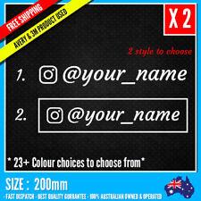 2x Custom Name Instagram Personalised Lettering Car Window Decal Sticker 200mm