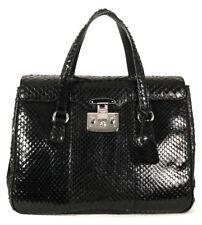 GUCCI $4,200 Black Python Skin LADY LOCK Top Handle Large Tote Bag