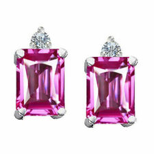 3.49CT 8x6MM 14K GOLD PLATED SILVER EMERALD CUT PINK SAPPHIRE STUD EARRINGS