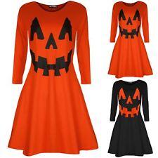 Womens Halloween Printed Pumpkin Ladies Costume Flared Smock Mini Swing Dress