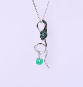 SNAKE EMERALD .925 SOLID STERLING SILVER NECKLACE #22186