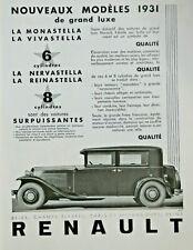 PUBLICITÉ PRESSE 1931 RENAULT DE GRAND LUXE LA MONASTELLA VIVASTELLA NERVASTELLA