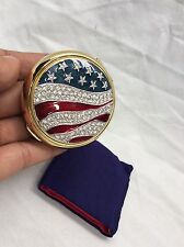 Beautiful Estee Lauder American Flag Crystal Enamel Patriotic Compact