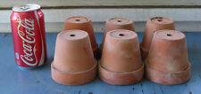 "Lot of 6 vintage clay terra cotta pots flower plant herb garden cactus 3 1/2"""