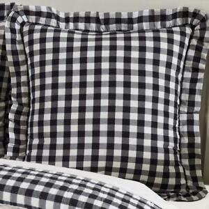 VHC BRANDS ANNIE BUFFALO CHECK BLACK Pillow Sham ~ RUFFLED EURO