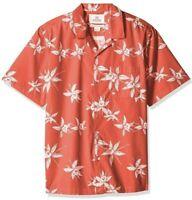 28 Palms Mens Hawaiian Shirt Red White Floral Short Sleeve Aloha Runs Small