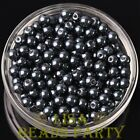 New 300pcs 6mm Round Czech Glass Pearl Loose Spacer Beads Pearl Black