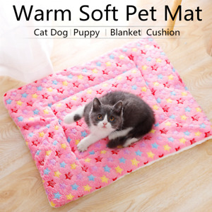 Flannel Pet Mat Paw Print Cat Dog Puppy Fleece Blanket Warm Soft Cushion Pad NEW