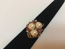 Vintage 14K Yellow Gold Pearl Ruby Diamonds Flower Ring Size 6.75 Gorgeous