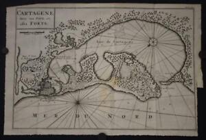 CARTAGENA DE INDIAS COLOMBIA 1756 BELLIN ANTIQUE ORIGINAL COPPER ENGRAVED MAP