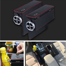 Car Seat Console Side Armrest Storage Box Coin Phone Organizer with Cup Holder