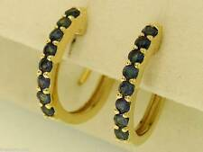 E027 Genuine 9K SOLID Gold NATURAL Sapphire HUGGIE Earrings September Birthstone