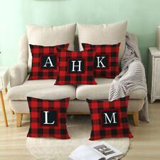 Alphabet Plaid Pattern Cushion Cover Pillow Case Office Home Sofa Chair Decor