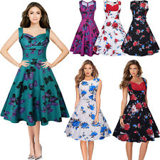 New Ladies Women Rockabilly Vintage 50s 60s Swing Party Cocktail Pin Up Dress
