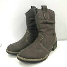 Rieker Ladies Ankle Boots Size UK 3 EU36 Brown Pull On Faux Suede Biker 311529