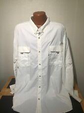 Mens Columbia PFG Omni-Shade L/S Button Front Shirt Size 4XL Tall XXXXL White