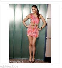 VICKY MARTIN pink peach silk one shoulder floral mini dress BNWT 12 RRP £155!!!