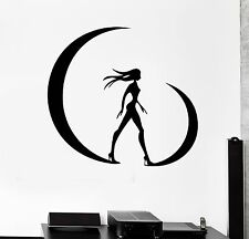 Wall Stickers Silhouette Beautiful Girl Woman Moon Mural Vinyl Decal (ig1923)