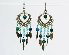 Bronze Dangle Chandelier Earrings with Gemstone and Bronze Leaves Handmade Drop
