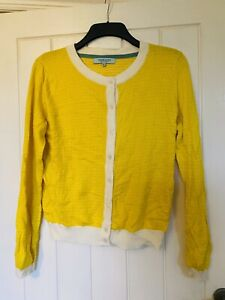 Dickins And Jones Yellow Cardigan Knit Jumper Size Medium Vintage 12 14 16 1950s