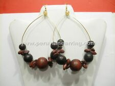 8 Pairs of Wood Earrings dangle Handmade Assorted Colors Large Size 427A