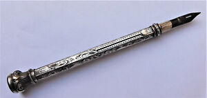 NO RESERVE HM 1890 Sterling Silver Victorian Mechanical Pencil & Dip Pen Combo