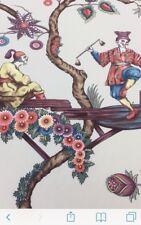 SCALAMANDRE Chinoise Exotique Chinoiserie Toile Fabric 1 yard