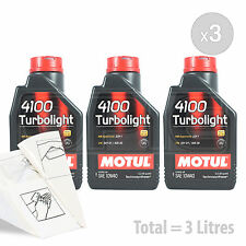 Car Engine Oil Service Kit / Pack 3 LITRES Motul 4100 Turbolight 10W-40 3L