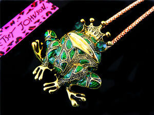Betsey Johnson Crystal Cute Frog prince Pendant Necklace Sweater Chain