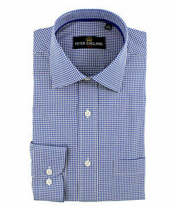 Peter England Blue Gingham Check Shirt