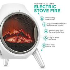 Log Fire Electric Heater Oval Flame Effect Fireplace Log Burner Stove LED 1.8kw